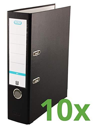 ELBA 100202154 Ordner smart Pro 10er Pack 8 cm breit DIN A4 schwarz mit Einsteck-Rückenschild und Kunststoffbezug außen