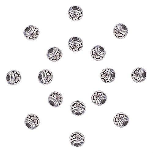 NBEADS 50 Stücke tibetischen Stil Antik Silber Metall Spacer Perlen 11mm mit Schmetterlingsmuster für Schmuckherstellung