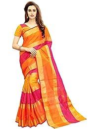 Glory Sarees Cotton Saree With Blouse Piece (jari125_Pink and Orange_Free Size)