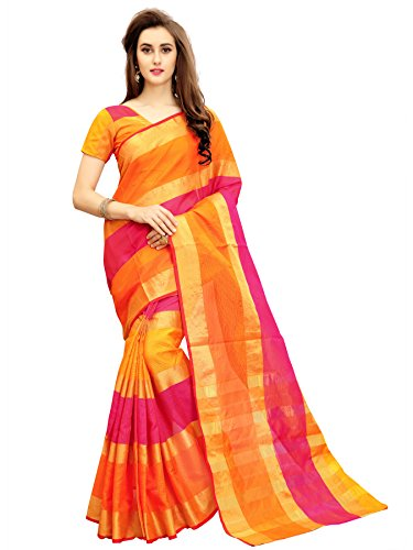 Glory Sarees Cotton Saree With Blouse Piece (jari125_Pink and Orange_Free Size)