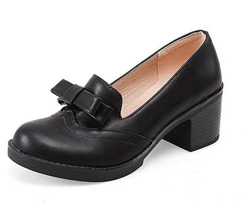 VogueZone009 Femme Matière Souple Rondt Tire Couleur Unie Chaussures Légeres Noir
