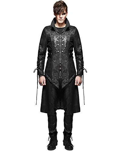 Punk Rave Diablo Giacca da uomo cappotto nero gotico Dieselpunk militare steampunk Black Large