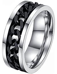 Fengteng Acero Inoxidable Acero Negro Titanio Cadena Rotativo Anillo Spinner Personalidad de los Anillos para Hombre (15)