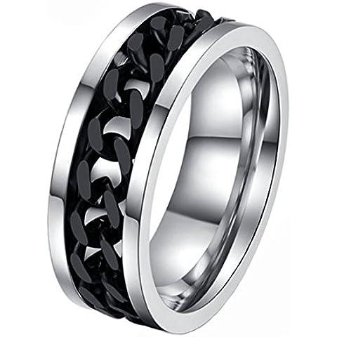Fengteng Acero Inoxidable Acero Negro Titanio Cadena Rotativo Anillo Spinner Personalidad de los Anillos para Hombre