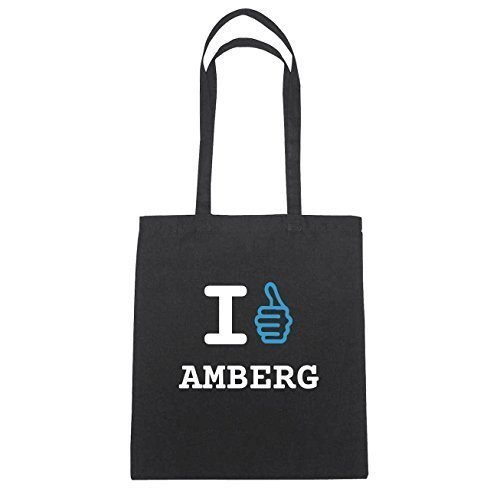 JOllify Amberg Borsa di cotone B1155 schwarz: New York, London, Paris, Tokyo schwarz: I like - Ich mag