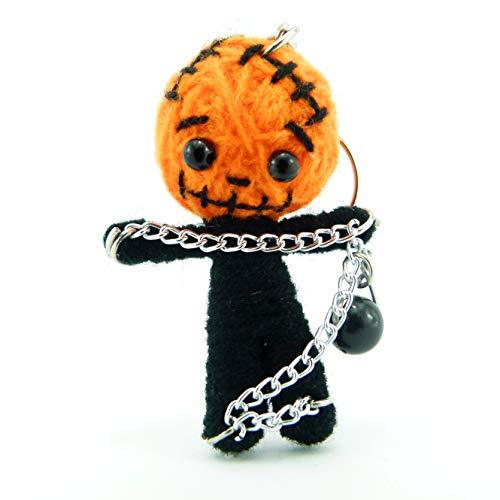 Pumkin - Voodoo-Puppe Schlüsselanhänger als Seelentröster und Glücksbringer zum Sammeln und als Accessoire - Anhänger für Taschen Handy Autorückspiegel - Sorgenpüppchen Handgemacht aus Wolle und Stoff