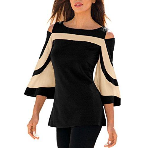 Moonuy Frauen 3/4 Hülsen-Pullover, beiläufige elegante dünne Oberseiten, Damen-kalte Schulter-lange Hülsen-Sweatshirts, O-Ansatz PaTctwork Sport-Hemd-Bluse (Schwarz, EU 38/Asien L) (Champions Navy Sweatshirt Hoody)