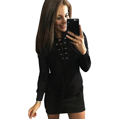 Rcool Solid Color Long Sleeve Lace mit Buttered Slim Kleid (XL, (Zara Slim Kostüm)