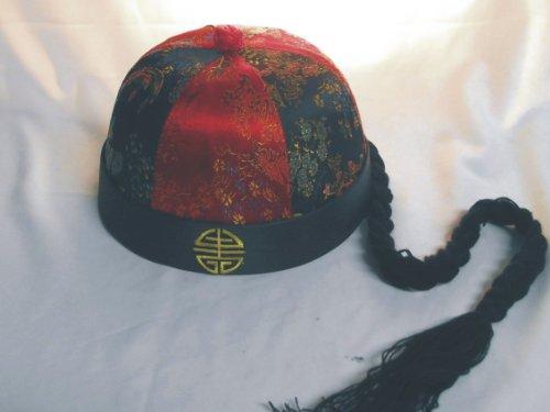 ische Mütze mit Zopf 01, rot schwarz, Qing Dynastie China (Chinesischen Qing Dynastie Kostüm)