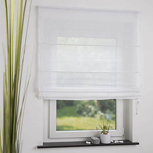 OBI Raffrollo Raffvorhang Raffgardine Leinen Weiß | 100 x 170 cm