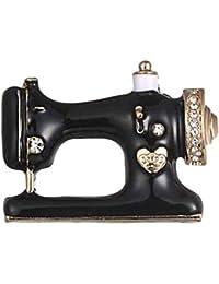 Nähmaschine Brosche Schwarzer Emaille Kragen Schal Pin Dekoration