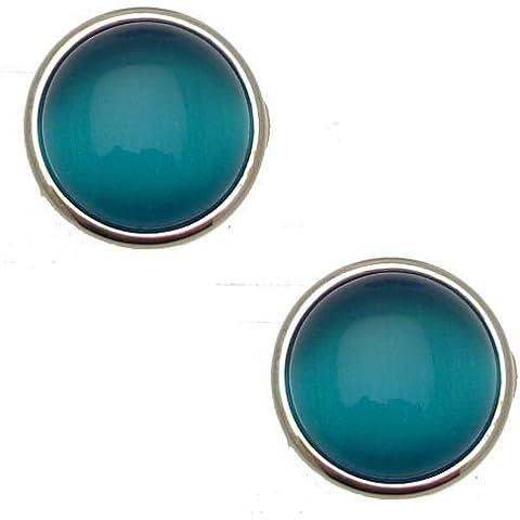 Acosta rotondi con pietra occhio di gatto blu-Orecchini a Clip, color argento