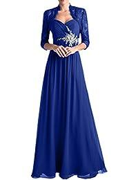 58f68384f58dfe Charmant Damen Dunkel Blau Spitze Langarm Bolero Abendkleider  Brautmutterkleider Ballkleider Lang A-Linie Rock