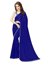 Glory Sarees Women's Georgette blue saree(mirror navy_navy blue)