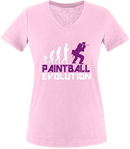 EZYshirt® Paintball Evolution Damen V-Neck T-Shirt Rosa/Weiss/Violett