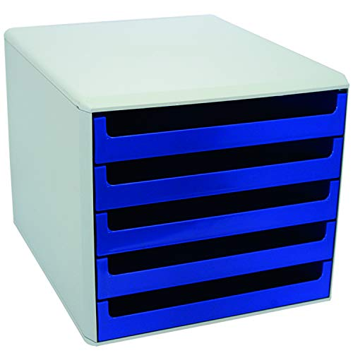 VOSS 30050911 Schubladenboxen - A4, 5 offene Schubladen, hellgrau/blau