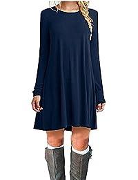 ZNYSTAR - Vestido holgado e informal de manga corta para mujer, estilo camiseta, para primavera, verano u otoño Color azul oscuro. M-36/38/40
