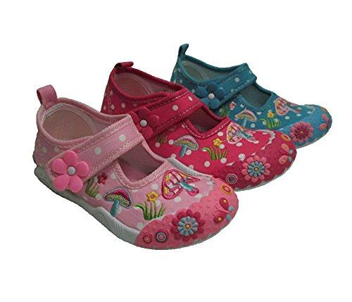 Mädchen Freizeitschuhe, Leinenschuhe, Hausschuhe, Klett mit Blume Gr.25 -30 Pink