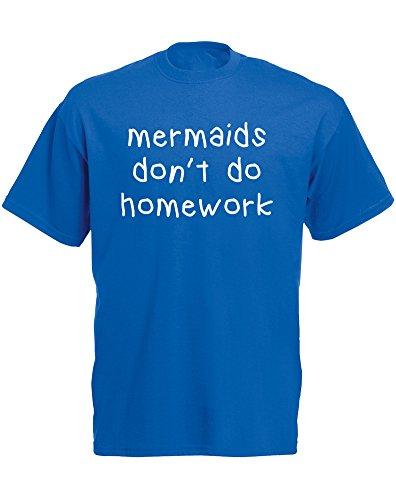 Brand88 - Brand88 - Mermaids Don't Do Homework, Mann Gedruckt T-Shirt Königsblau/Weiß