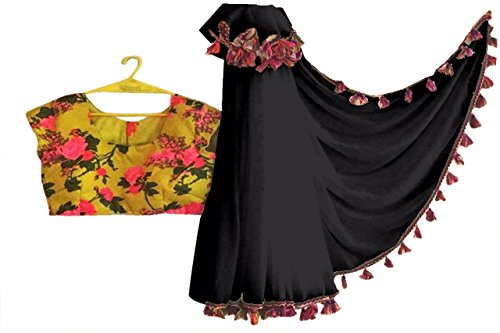 Deepjyoti Creation Georgette Saree With Blouse Piece (Dc1251To1256_Black_Free Size)