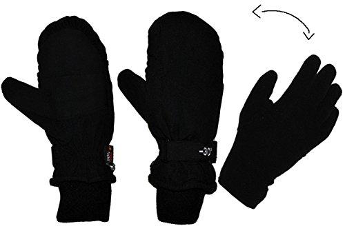 Unbekannt 2 in 1: Fingerhandschuhe im Fausthandschuh für Kälte bis -30 Grad - wasserdicht Thinsulate - sehr warm - Thermo gefüttert - Größe 8 - Thermohandschuhe schwarz