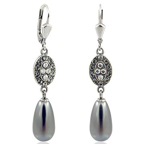 Jugendstil Ohrringe mit Kristallen von Swarovski Perlen NOBEL SCHMUCK