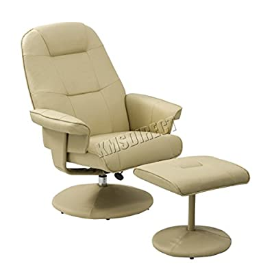 FoxHunter Executive Recliner PU Faux Leather Arm Chair Swivel Armchair Lounger Seat With Footrest Foot Stool RCS01 Cream produced by KMS - quick delivery from UK.
