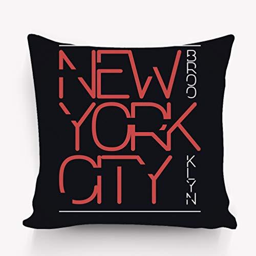 (rongxincailiaoke Kissenbezüge Pillow case New York City Brooklyn Typography Print Stamp Sportswear 18 * 18 inch)