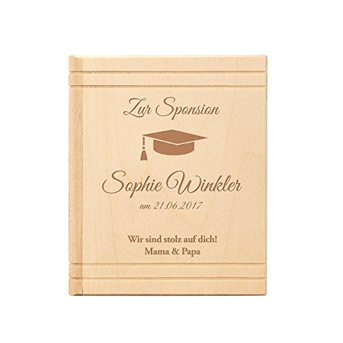 Spardose Buch aus Holz - mit Gravur zur Sponsion - Personalisiert mit [NAMEN] und [DATUM] - Motiv...