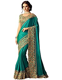 Fashionfort Silk Saree With Blouse Piece (Fftz14-4_Turquoise Blue & Green_Free Size)