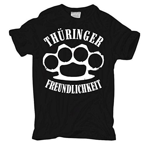 Männer und Herren T-Shirt Thüringer Freundlichkeit Schwarz