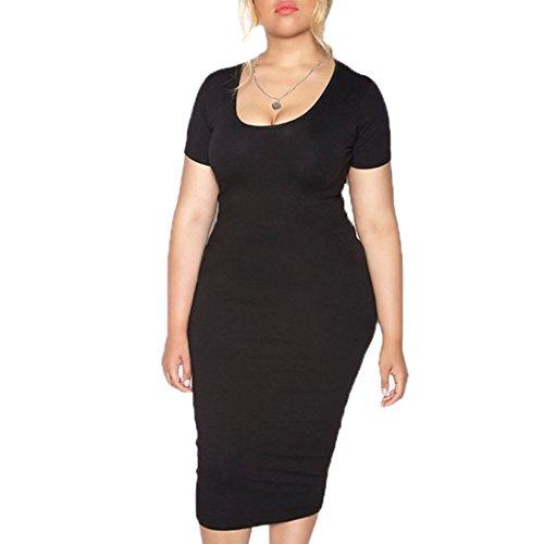 Femmes Robe À Manches Courtes Dame Mince Casual Gros Travail De Taille Jupe Longue Noir