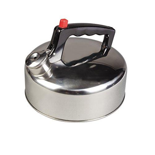 Flötenkessel leicht und robust aus rostfreiem Stahl mit Flip-top Deckel 2 Liter • Edelstahl Kessel Teekessel Wasserkessel Wasserkocher Teekanne Camping Outdoor