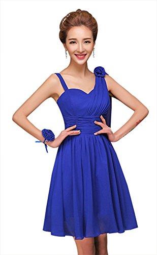 drasawee femmes d'épaule OFF courtes en mousseline de soie robe Junior Homecoming robes Bleu Marine