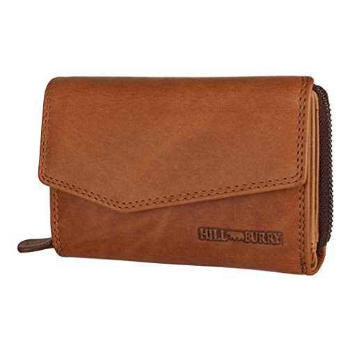 Hill Burry Echtleder Damen Geldbörse   Hochwertiges Portemonnaie mit Reißverschluss und praktischer Aufteilung   Großes Format im Vintage Look   Wallet   Chunkyrayan 13092 Brown 1