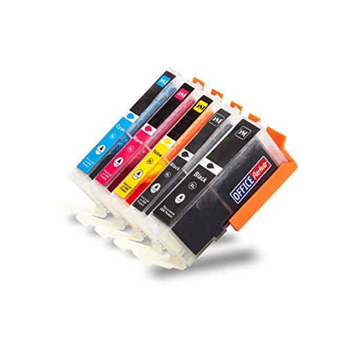 OFFICE-Partner 5 XXL Druckerpatronen kompatibel zu Canon CLI-581 PGI-580 Pixma TR7550 TR8550 TS6150 TS6151 TS6250 TS6251 TS8150 TS8151 TS8152 TS8240 TS8241 TS8250 TS8251 TS8252 TS9150 TS9155 TS9550 - Refill Tinte Pigment Schwarz