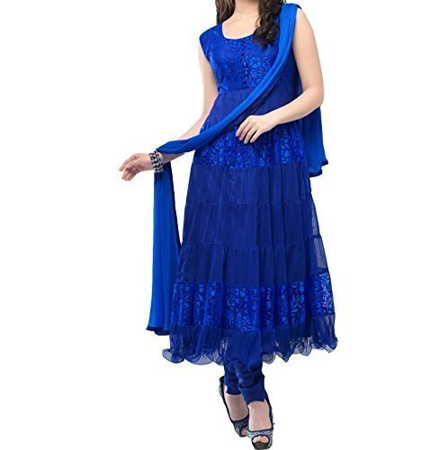 Woman style Women\'s Braso Net Piech Anarkali Dress Material (Blue)