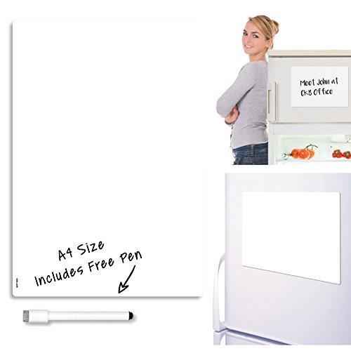 , trocken abwischbare Whiteboard Kühlschrank Magnettafel Magnet Signage Tabelle mit Marker weiß Board & Stift–trocken abwischbare Küche Memo Pinnwand groß Notitzbuch 29x 21cm (Große Magnetische Blätter)