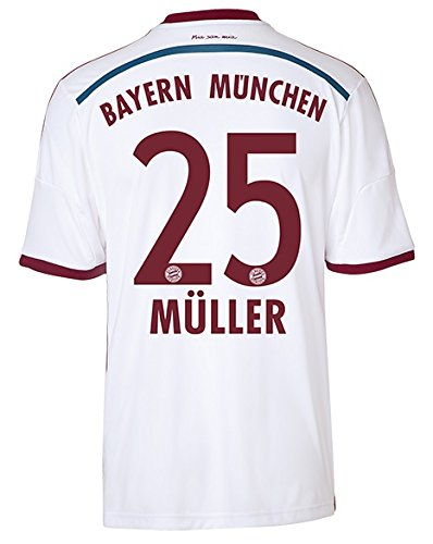 adidas FC BAYERN MÜNCHEN Trikot Away WC Herren 2014 / 2015 - MÜLLER 25, Größe:L (Away Trikot Erwachsene)