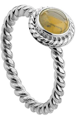 Nenalina Damen Ring Silberring besetzt mit 6 mm goldgelben Citirin Edelstein, handgearbeitet aus 925 Sterling Silber, Gr. 56-212999-014-56