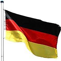 FLAGMASTER Alu Fahnenmast 6,5m + Deutschlandfahne, Komplettset, 5-fach höhenverstellbar, 3 Jahre Garantie