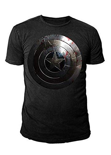 Kostüm Hoodie Deadpool - Marvel Comics - Captain America Herren T-Shirt - The Winter Soldier - Shield Logo (schwarz) (S-XL) (M)