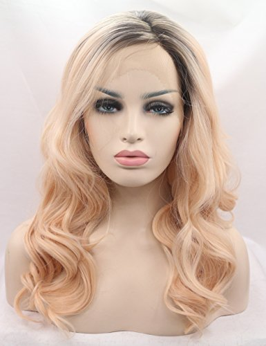 e Mixed Blonde Hair Synthetic Lace Front Wig for White Women Dark Rooted 2017 Fashion Looking Side Parting Ombre Wigs uk 20 inches ()