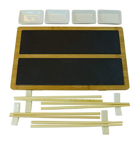 Alpina sushi set piatto da portata 33 x 20 cm in ardesia e bambù con bastoncini e ciotole per 4 persone