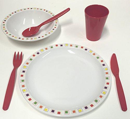 Harfield, Polycarbonat/Kunststoff, Abstraktes Children's Squares Geschirr-Set, Teller, Schale, Becher und Besteck, - Square Rot Geschirr-set