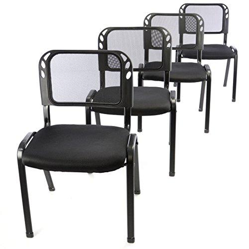 Nexos 4er Set Bürostuhl Konferenzstuhl Besucherstuhl schwarz gepolsterte Sitzfläche stapelbar 52,5 x 45 x 80 cm Stapelstuhl Metallrahmen schwarz