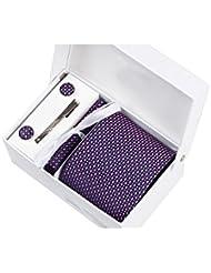 Coffret Cadeau Shangai - Cravate bleu marine à losanges blancs et fushia, boutons de manchette, pince à cravate, pochette de costume