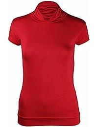 Neu Damen Rollkragen Polokragen T-Shirt Oberteile Damen Kurzarm Stretch Enganliegend Geraffte Rüschen-Top