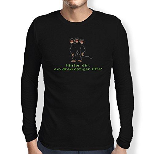 NERDO - Dreiköpfiger Affe - Herren Langarm T-Shirt Schwarz