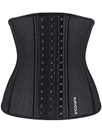 Burvogue Women's Waist Trainer 9-25 Steel Boned Latex Workout Corset